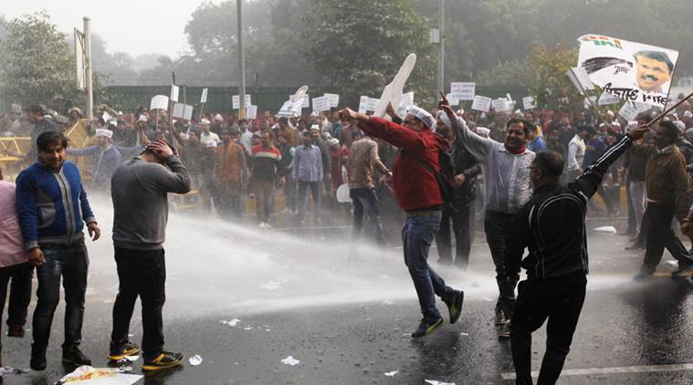 AAP members and supporters staged a protest at the Tughlaq road close to the residence of the Finance Minister Arun Jaitley demanding for his resignation in the DDCA accusations in the capital New Delhi on wednesday. Express Photo by Tashi Tobgyal New Delhi 231215