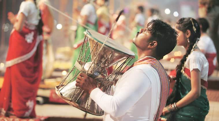 Performers rehearse for Ganga Aarti at Dashashwamedh Ghat in Varanasi, Friday, ahead of PM Narendra Modi and his Japanese counterpart Shinzo Abe's visit on Saturday. (Source: Express photo by Vishal Srivastav)