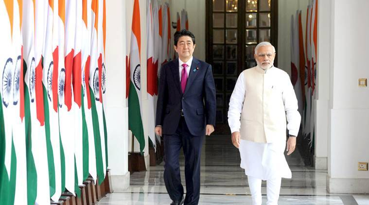 Prime Minister Narendra Modi with the Prime Minister of Japan, Shinzo Abe, at Hyderabad House, in New Delhi on December 12, 2015. (PIB)
