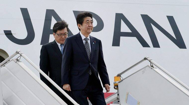 New Delhi: Japan's Prime Minister Shinzo Abe upon his arrival at AFS Palam in New Delhi on Friday. PTI Photo by Subhav Shukla (PTI12_11_2015_000160B)
