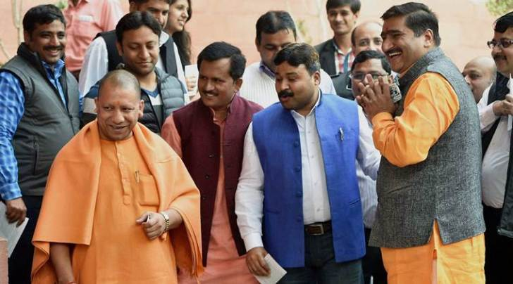 BJP MP Yogi Adityanath , during the Winter Session of parliament in New Delhi on Tuesday. PTI Photo by Shahbaz Khan