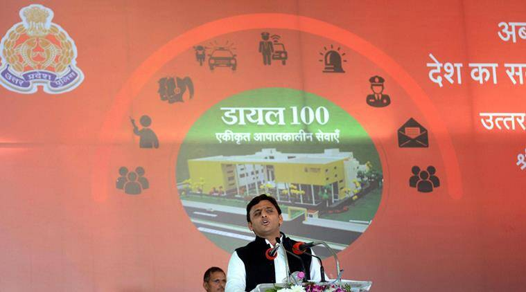 Lucknow: Uttar Pradesh Chief Minister Akhilesh Yadav addressing after laying foundation stone of U P Police's statewide Dial 100 project in Lucknow on Saturday. PTI Photo by Nand Kumar (PTI12_19_2015_000254A)