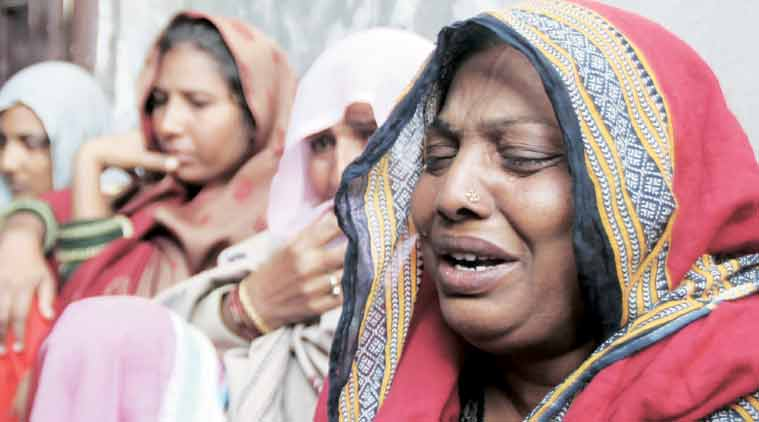 Bheem Tank's mother and other relatives, in Abohar on Monday. (Express Photo by: Gurmeet Singh)