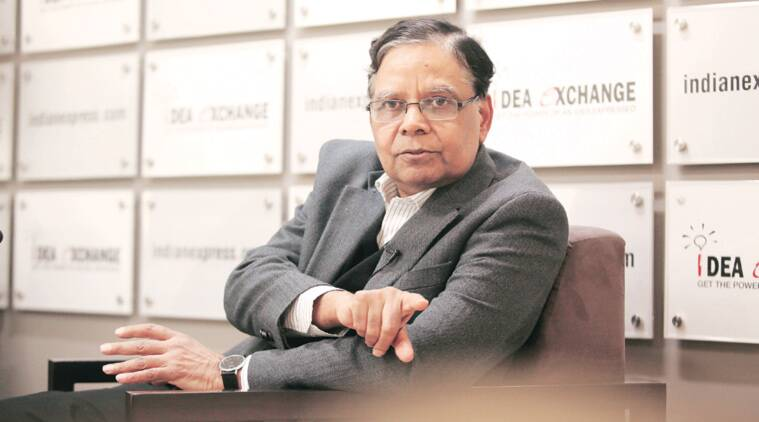 Arvind Panagariya at The Indian Express office