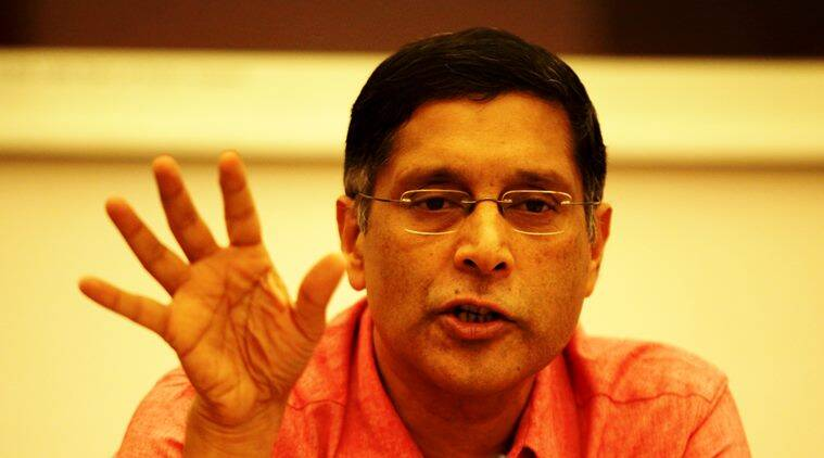 Chief Economic Adviser Arvind Subramanian during a press Conference at North Block New Delhi on 2nd sept. 2015. Express photo by Renuka Puri.
