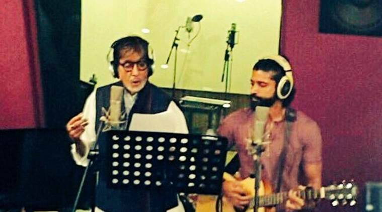 Amitabh Bachchan and Farhan Akhtar went behind the mic together to record a duet track 'Atrangi yaari' for 'Wazir'. (Source: Twitter)