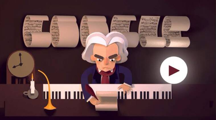 Google is celebrating Bethoven's 245th anniversary by today's Doodle