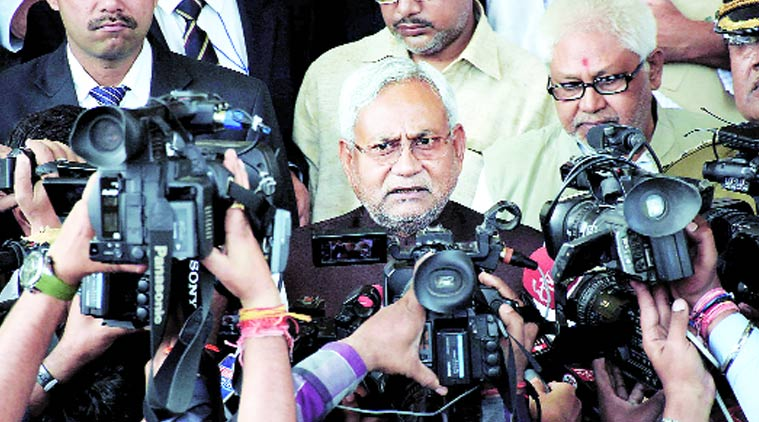 Bihar Chief Minister Nitish Kumar outside the assembly in Patna on Tuesday. PTI