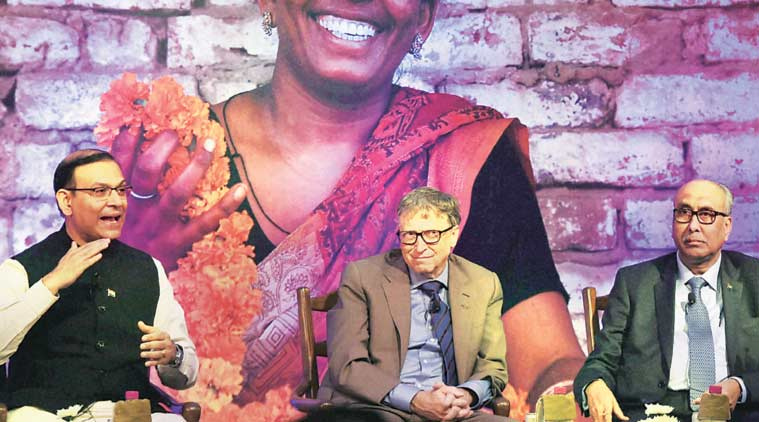 (L-R) Minister of State for Finance Jayant Sinha with Co-Chair of Bill & Melinda Gates Foundation Bill Gates and RBI Deputy Governor S S Mundra in New Delhi on Friday. (Source: PTI)
