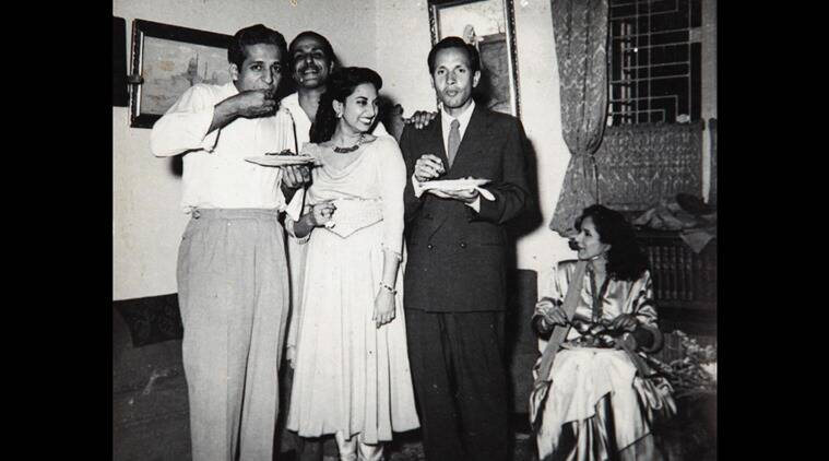 Suraiya with Chetan Anand (in a coat) at a party at Chateau Marine.