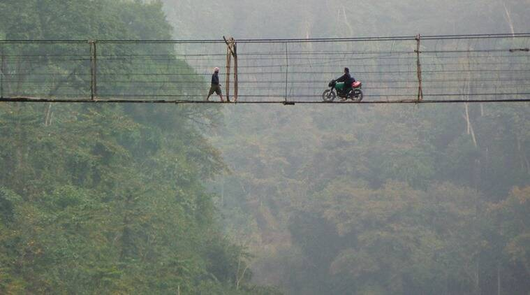 Adi suspension bridges made of cane, wood and metal wire were good for crossing on foot and even on a bike. (Source: Anirban Datta-Roy)