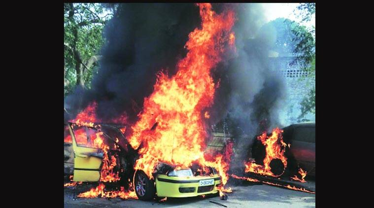 car accident, car fire, car catches fire, chandigarh accident, chandigarh news
