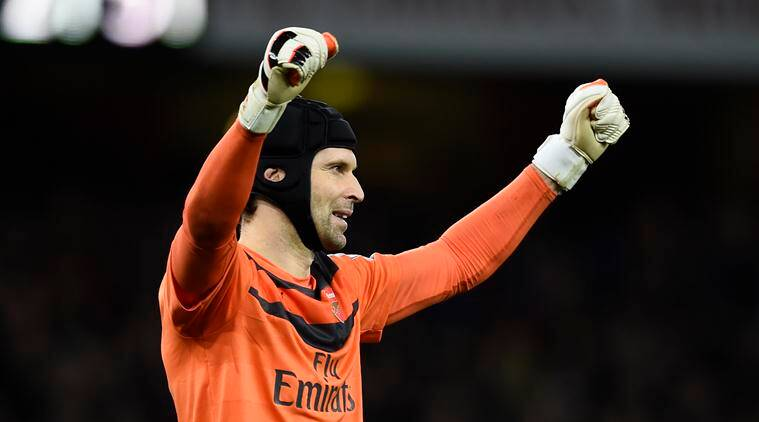 """Football Soccer - Arsenal v Manchester City - Barclays Premier League - Emirates Stadium - 21/12/15 Arsenal's Petr Cech celebrates after the game Reuters / Dylan Martinez Livepic EDITORIAL USE ONLY. No use with unauthorized audio, video, data, fixture lists, club/league logos or """"live"""" services. Online in-match use limited to 45 images, no video emulation. No use in betting, games or single club/league/player publications. Please contact your account representative for further details."""