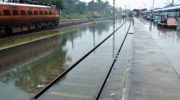 Chennai: A view of waterlogged railway track in Chennai on Tuesday. PTI Photo by R Senthil Kumar(PTI12_1_2015_000359A)
