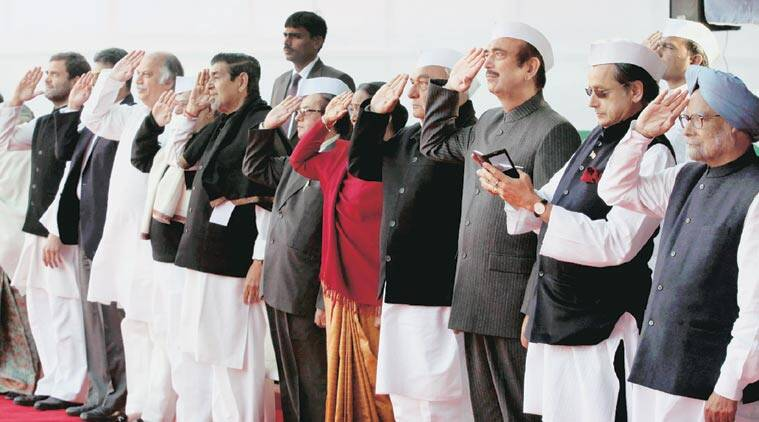 Congress leaders at the AICC headquarters on the occasion of the party's Foundation Day, Monday. (Express Photo by: Renuka Puri)
