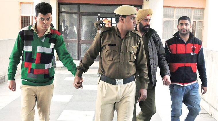Two of the four convicts in Panchkula on Tuesday.  (Express photo)