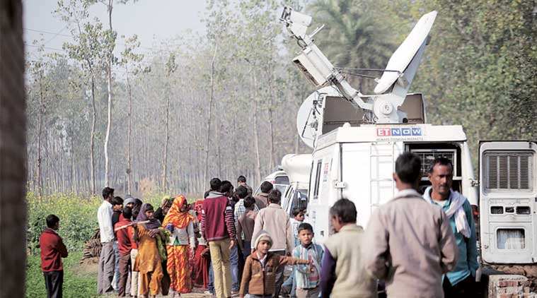 At the juvenile's village in Badaun on Sunday. (Express Photo by: Oinam Anand)
