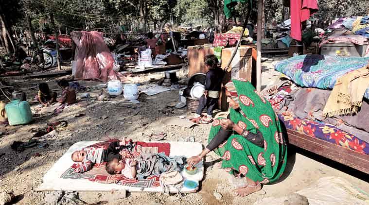 At Shakurbasti, where 500 jhuggis were razed in a Railways demolition drive. (Express Photi by: Renuka Puri)