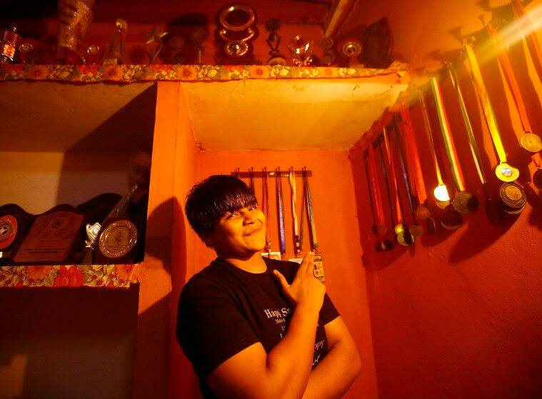 For EYE Story...Indian Junior Women Wrestler Divya with her National and International Medals at her Village House in Uttar Pradesh. EXPRESS PHOTO BY PRAVEEN KHANNA 05 12 2015.