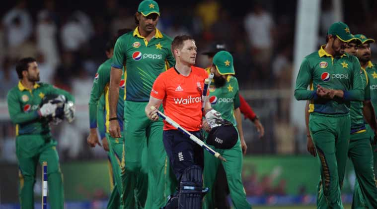 England's batsman Eoin Morgan takes the wickets after the third T20 cricket match between Pakistan and England at the Sharjah Cricket Stadium in Sharjah. (Source: AP)