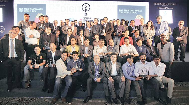 Winners of the third Express IT Awards in Bengaluru on Friday.   (Source: Express Photo by Ravi Kanojia)