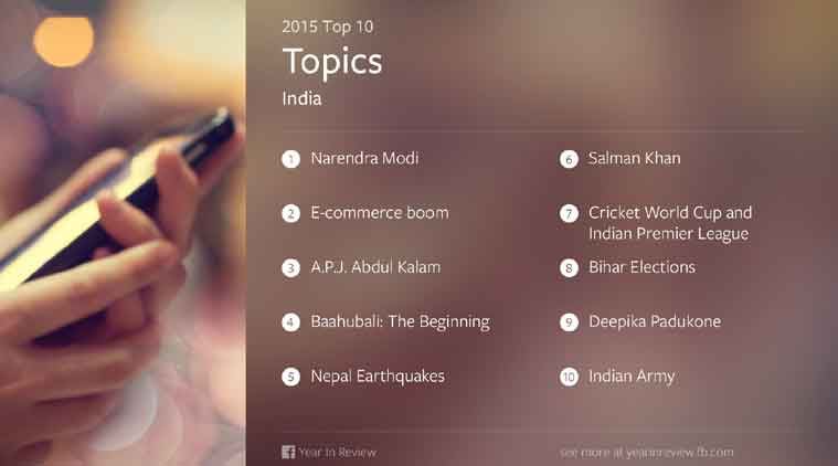 #FacebookYearinReview, #FacebookYear2015, Facebook, Facebook Year in Review, Facebook Review 2015, Facebook Year in Review 2015 India, Facebook India hot topics, Narendra Modi, E-commerce boom, APJ Abdul Kalam, India Gate, social media
