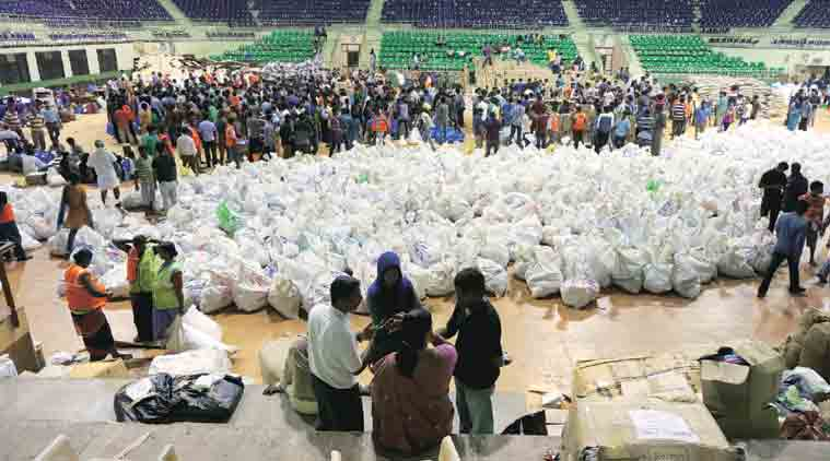 Relief parcels at the stadium on Monday. (Express Photo)