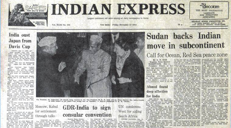 The Indian Express on 12 December, forty years ago