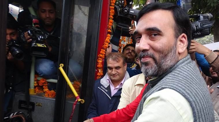 New Delhi: Transport Minister Gopal Rai inaugurating Wifi and CCTV equipped DTC buses at Delhi Secretriat in New Delhi on Wednesday. PTI Photo (PTI12_23_2015_000283A)
