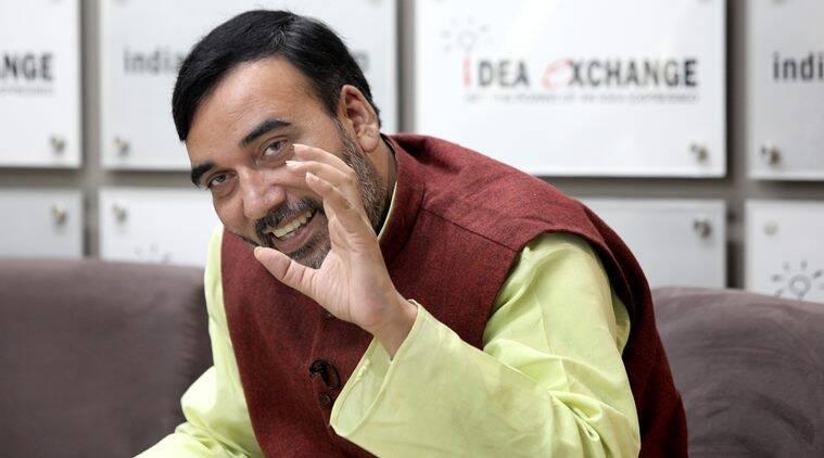 Delhi Transport minister Gopal Rai at the Indian Express idea exchange in Noida on Dec 11th 2015. Express photo by Ravi Kanojia.