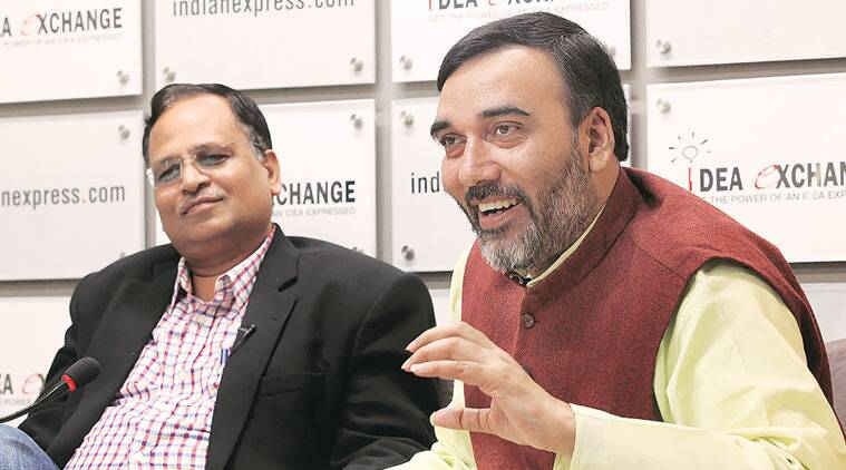 PWD minister Satyendar Jain and Transport Minister Gopal Rai at the Indian Express Idea Exchange Friday. (Source: Express Photo by Ravi Kanojia)