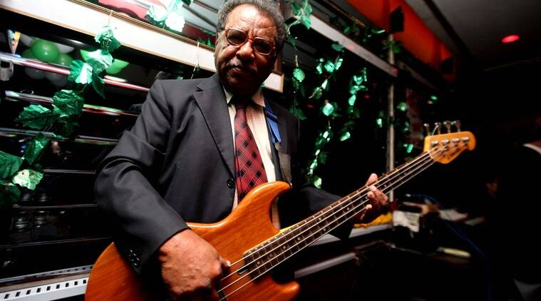 Seventy-year-old bass guitarist Noel Martin has been playing at Trincas for 30 years now. He has accompanied Usha Uthup, Benny Rozario and Pam Crain, among many other musicians. (Photo: Subham Dutta)