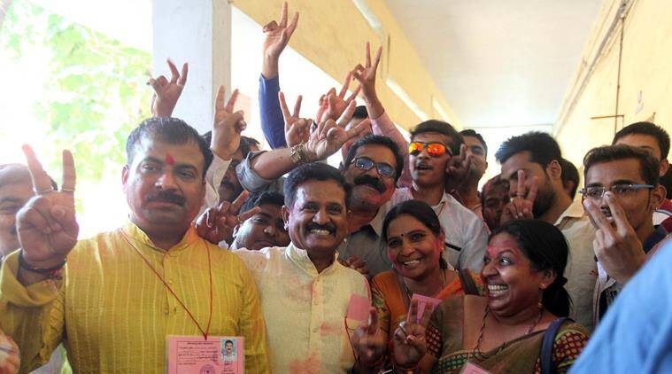BJP candidates celebrate after winning four seats in Ward 17 of Vadodara Municipal Corporation Express Photo By Bhupendra Rana 02-12-2015