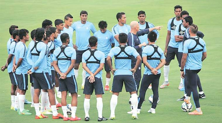Indian players try out the GPS tracker during a training session. It was introduced by coach Stephen Constantine.
