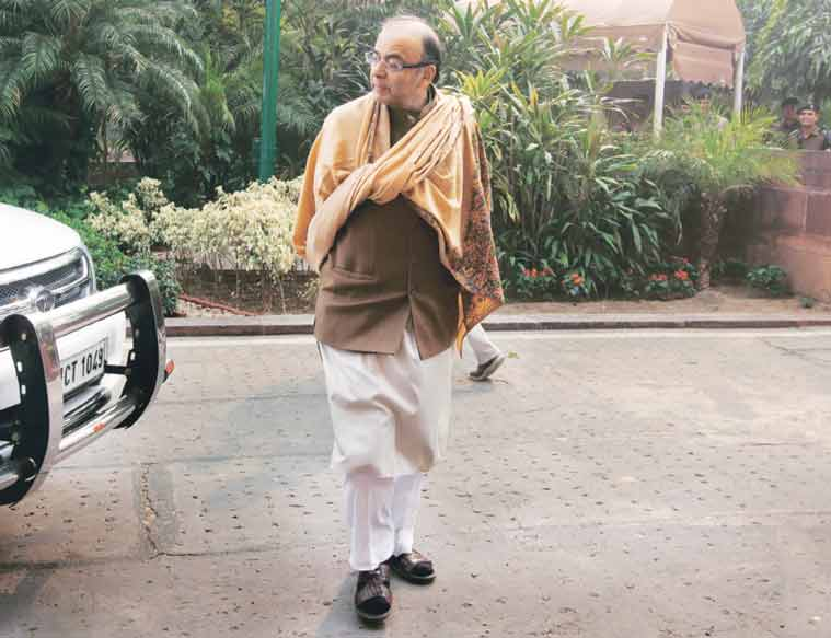 Arun Jaitley outside Parliament on Wednesday, last day of the winter session. (Express Photo by: Renuka Puri)