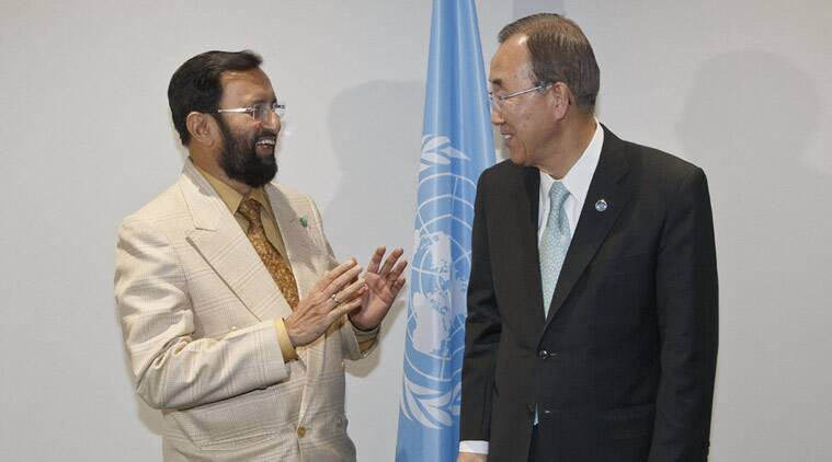 Environment Minister Prakash Javadekar, left, speaks with United Nations Secretary General Ban Ki-moon prior to a bilateral meeting at the COP21, United Nations Climate Change Conference, in Le Bourget, north of Paris, Friday, Dec. 11, 2015. (Source: AP)