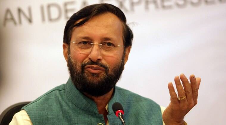 Union Information and Broadcasting Minister Prakash Javadekar during Idea Exchange. Express Photo by Amit Mehra. 19.06.2014.