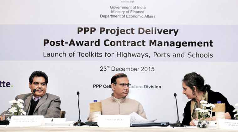 Minister of State for Finance Jayant Sinha (centre) at the launch of guidance material for post-award contract management of PPP projects during a function in New Delhi on Wednesday.   (Source: PTI)