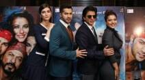 shah rukh khan, dilwale, kajol, kriti sanon, varun dhawan, shah rukh khan in london, shah rukh khan london pics, shah rukh khan kajol, shah rukh khan kajol pics, srk, srk kajol pics, srk pics, kajol pics, kriti pics, kriti kajol pics, kriti varun dawan pics, shah rukh khan photos, shah rukh khan news, entertainment, bollywood