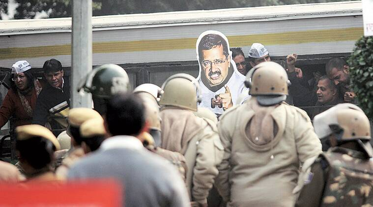 Senior AAP leaders and over 4,000 party volunteers staged a massive protest near Race Course Metro Station Wednesday to seek Finance Minister Arun Jaitley's resignation over alleged financial irregularities in the DDCA. (Tashi Tobgyal)