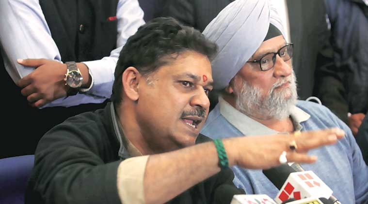 Kirti Azad with Bishan Singh Bedi in Delhi, Sunday. (Express Photo by: Amit Mehra)