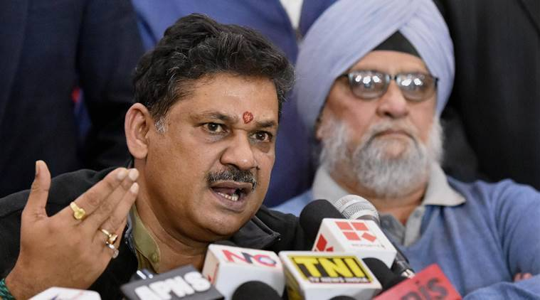 Kirti Azad with veteran cricketer Bishan Singh Bedi during a press conference regarding DDCA in New Delhi. (PTI Photo)