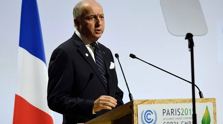 French Foreign Affairs Minister Laurent Fabius delivers a speech at the COP21, United Nations Climate Change Conference, in Le Bourget, outside Paris, Monday, Nov. 30, 2015. (Eric Feferberg/Pool Photo via AP)