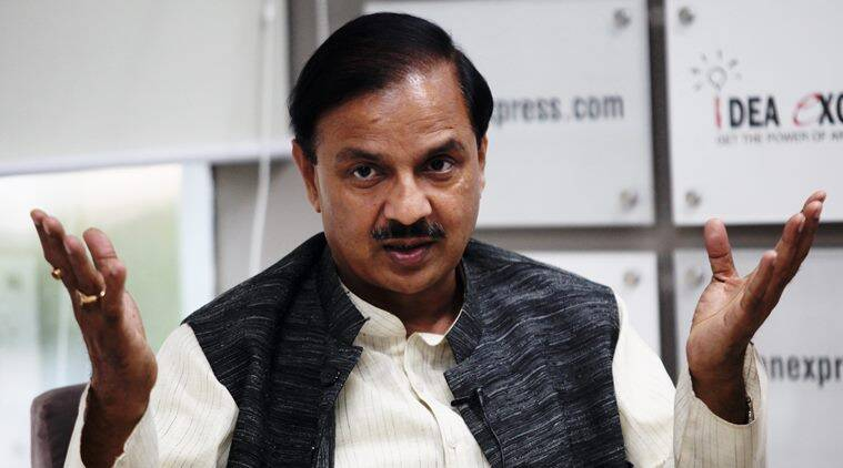 Dr Mahesh Sharma, Minister of State of Culture & Tourism during the Idea Exchange. Express photo by Renuka Puri.