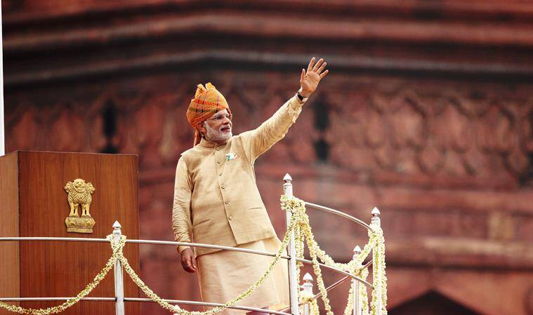 PM Narendra Modi at the 69th Independence day celebrations of India at the Red Fort in Delhi on saturday. Express Photograph by Tashi Tobgyal New Delhi 150815