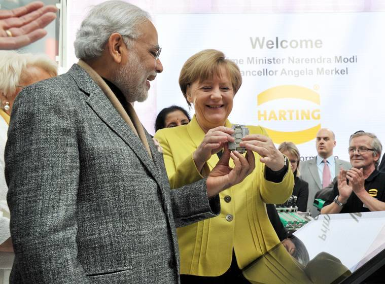 The Prime Minister, Shri Narendra Modi and the German Chancellor, Ms. Angela Merkel at the Joint Walk About, at the Hannover Messe, in Germany on April 13, 2015.