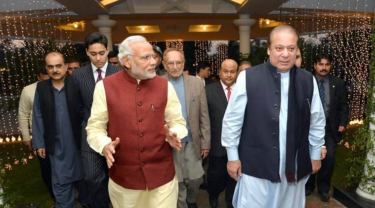 Prime Minister Narendra Modi visits the Prime Minister of Pakistan, Nawaz Sharif's home in Raiwind, where his grand-daughter's wedding is being held, at Lahore, Pakistan on December 25, 2015. (PIB photo)
