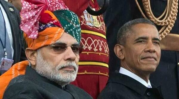 Narendra Modi and US President Barack Obama watch the Republic Day parade in New Delhi. (Source: PTI photo)