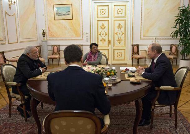 narendra modi, modi, modi in Russia, Modi russia visit, Modi Russia trip, Modi putin, india russia deals, modi putin talks, india russia summit, india news, russia news, latest news, modi russia photos, modi putin images, modi russia national anthem,