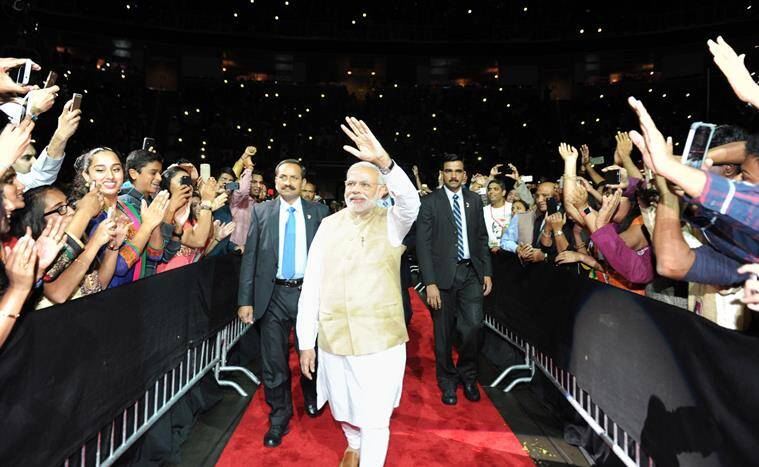 The Prime Minister, Shri Narendra Modi at the SAP Centre before his address to the Indian community in San Jose, California on September 27, 2015.